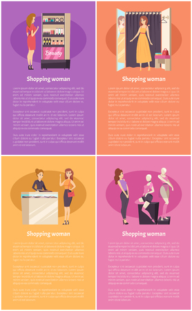 Shopping women, changing room, lady in shop trying on dress vector. Stand with cosmetics products, makeup essentials. Mannequins with clothes store