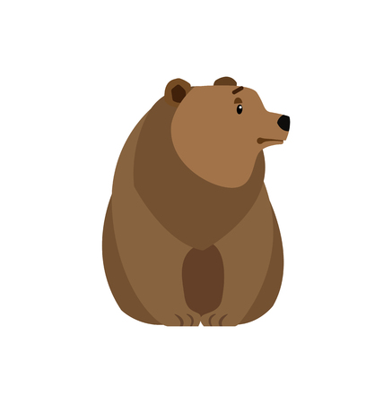 Bear forest animal vector illustration icon isolated on white. Wildlife teddy, big plush toy. Dangerous mammal of brown color, cartoon design roaring creature