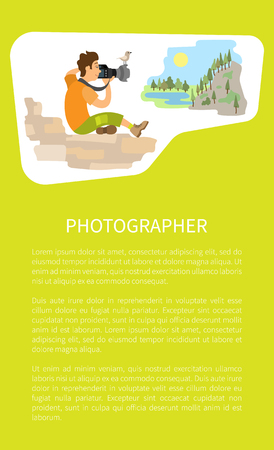 Photographer taking picture, photo equipment. Photojournalist reporter sitting on stones making photo of mountain landscape vector poster with text sample