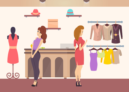 Shopping women looking at outfits on mannequins in store vector. Shelves with hats accessories, dresses and jackets, sweaters and top brand cloth