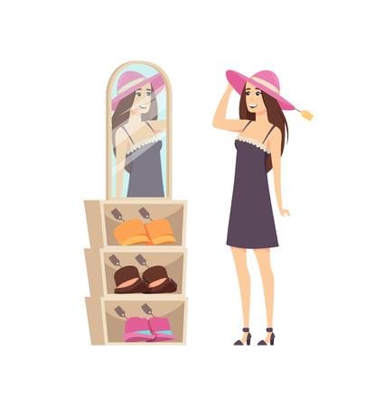 Frauenkundeneinkaufen, Kopfbedeckungen auf Kopfvektor versuchend. Kundendame mit Hut und Blick in den Spiegel, um zu sehen, ob es passt. Preisschilder auf Mützen für Damen