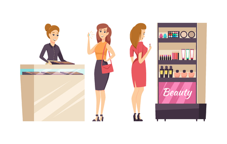 Female shopaholic choosing cosmetics set vector. Makeup and visage, stand with powder, palette and foundation, lipstick and mascara. Jewelry store