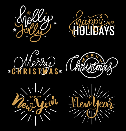 Happy Holidays and best wishes, merry and bright Christmas, holly jolly New Year handwritten doodles, scripts, calligraphic inscription for greeting cards. White text on black background 일러스트