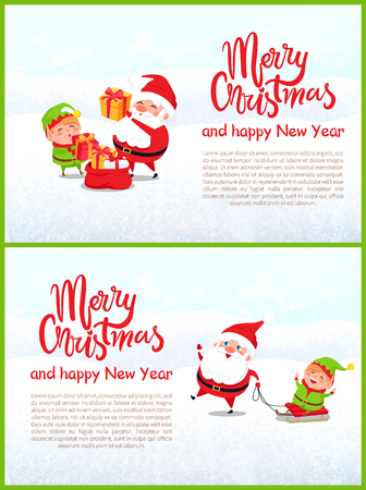 Merry Christmas and Happy New Year, Santa and Elf helper riding on sledges, packing presents and gift boxes, Xmas time decorations, lettering and text Ilustração