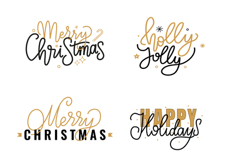 Merry Christmas and Happy New Year Holidays, Holly Jolly quote, text for greeting cards design, lettering font, stars and snowflakes. Black and gold inscriptions Ilustrace