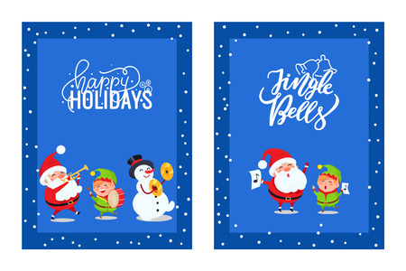 Holly Jolly greeting card with lovely Santa, Elf and Snowman. Vector Santy and dwarf singing Xmas carols and playing on musical instruments isolated in frame