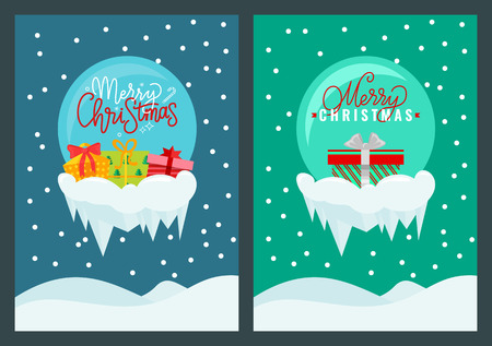 Merry Christmas postcard with holiday presents. Blue and green side with drifts and snow. Lettering congratulation in ball, multicolored gifts with bows