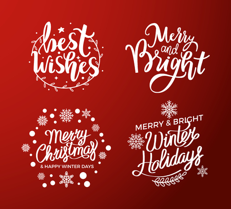 Best wishes, merry and bright, Christmas winter holidays text for greeting cards design, lettering font, stars and snowflakes. Inscription, New Year celebration