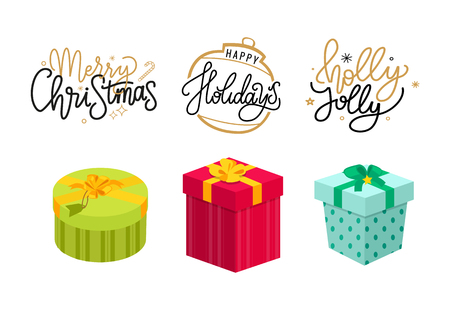 Merry Christmas, holly jolly holidays lettering, postcard with gifts packed in boxes, topped by bows. Xmas and New Year presents, winter vector cards