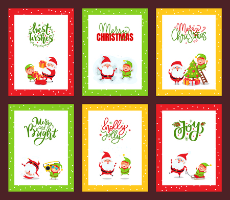 Collection of Christmas cards with Santa. Vector of festive cartoon illustrations with Santa Clause, elf and deer jumping, listening to music, having fun