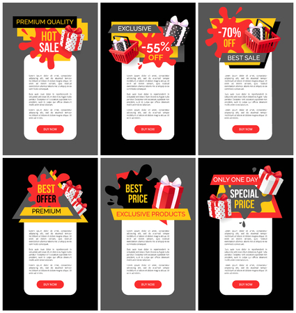 All products sale, discounts on web pages set vector. Posters with text sample, offering and clearance of shops, business advertising. 80 percent lower