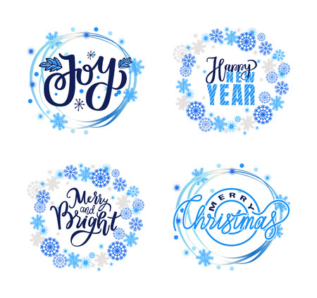 Merry and bright, Christmas joy and happy New Year winter holidays greeting cards design, lettering doodles in wreath of snowflakes, wintertime inscriptions