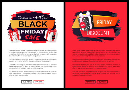 Discounts and special prices, reductions and surprises, autumn sellout on web poster with text. Black Friday sale, banner with presents in boxes vector. 일러스트