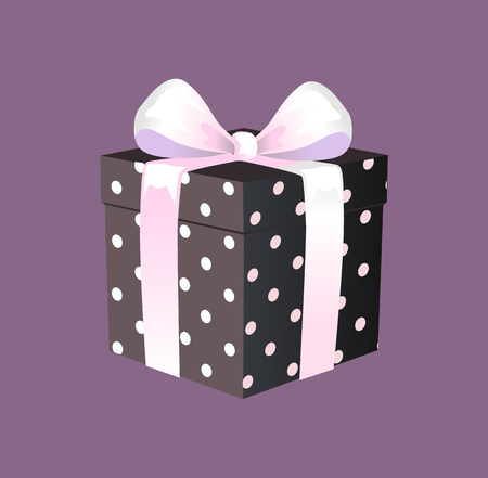 Gift box with ribbon and bow. Carton present wrapped in black white polka dots paper with white satin ribbon and bow, flat cartoon vector illustration