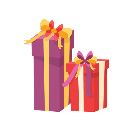 Christmas presents wrapped in gift boxes. Vector packages in decorative paper, shopping packs with surprise inside, purple and red containers with bow Illustration
