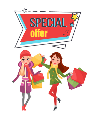 Special offer super sale price off shopping banner vector. Woman happy of buying cheap products, presents packages reduction of cost on Christmas gifts Stock Illustratie