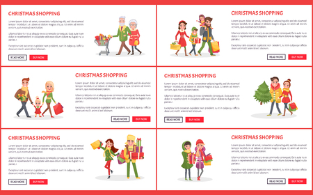 Christmas holiday shopping web pages with text sample vector on white background. Grandparents pulling trolley filled with gifts and presents, family and happy people