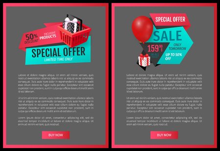 Fixed price 159.90, special offer promo posters with half price discounts. Advertisement labels on web site pages. Vector gift boxes and balloon on tags  イラスト・ベクター素材