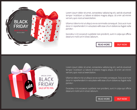 Packages, special advert on Black Friday, wrapped gift boxes with price tags, November autumn total sale advertisements vector. Present surprises, shopping