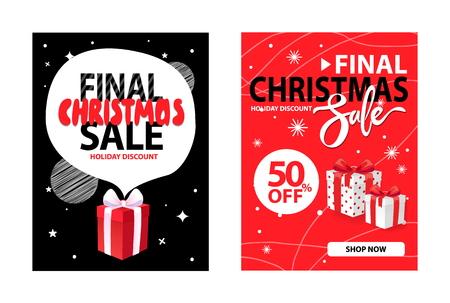 Covers design with info about Xmas and New Year discounts. Christmas sale for a limited time vector brochures with gift boxes, snowflakes and gifts Иллюстрация