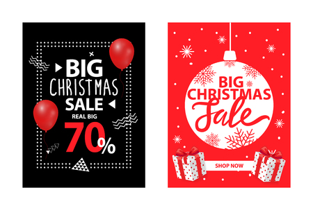 Big Christmas sale up to 70 percent off, vector brochures with balloon and decorative ball. Covers with info about Xmas and New Year discounts, gifts Vektorové ilustrace