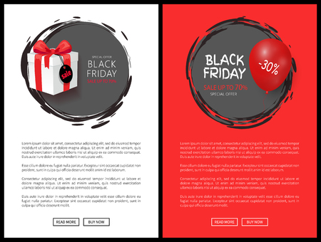 Black Friday sale web banners, gift with discount tag and balloon. Big off, price reduction, special holiday offer, autumn event vector illustrations