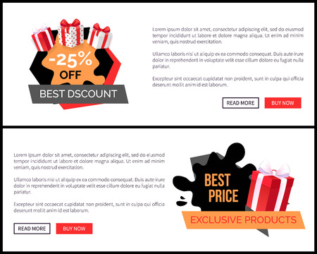 Promo price web site templates with advertising labels and gifts packed in wrapping paper. Shopping sale labels and presents, stickers on landing page