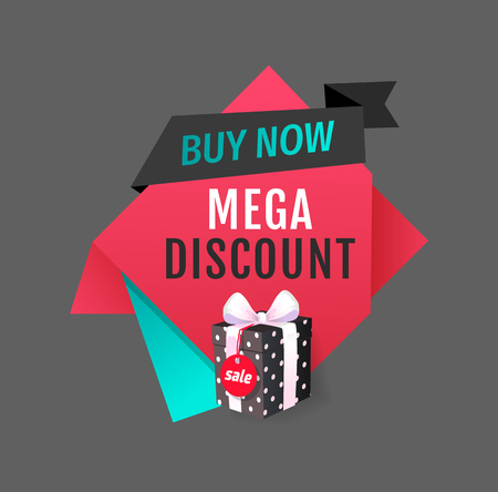 Buy now, mega discount best offer, sale label vector. Isolated banner with present and ribbon bow. Special proposition of shop to purchase store items