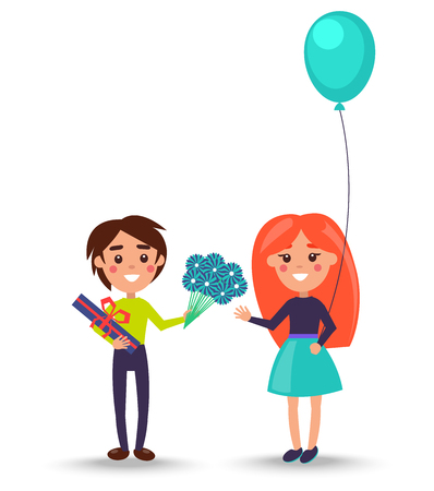 Little boy greet little redhead girl in puffy skirt that holds baloon with bouquet of blue flowers and giftbox vector illustration.