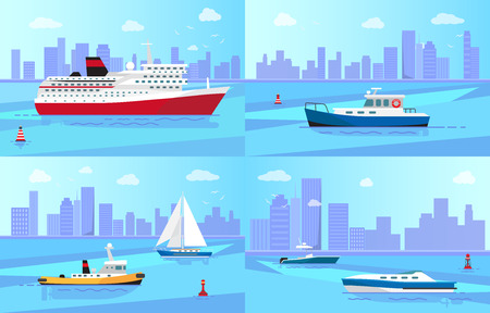 Big steamer, fishing boat, small ferry, luxurious sailboat, small motor boat and modern yacht in sea near shore with skyscrapers vector illustrations.