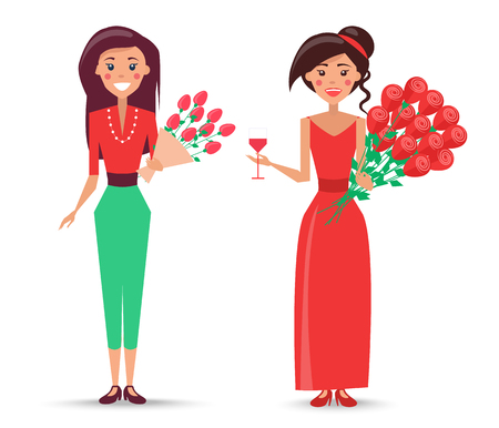Female character with pink roses in craft paper and woman in dress with glass of wine and bunch of red roses vector illustrations. Illustration