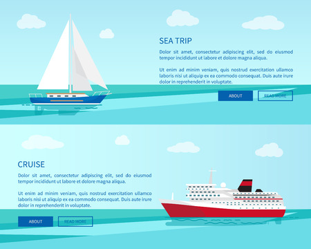 Sea trip on sailboat and luxurious cruise on spacious liner around ocean promotional internet page with information vector illustration. Иллюстрация