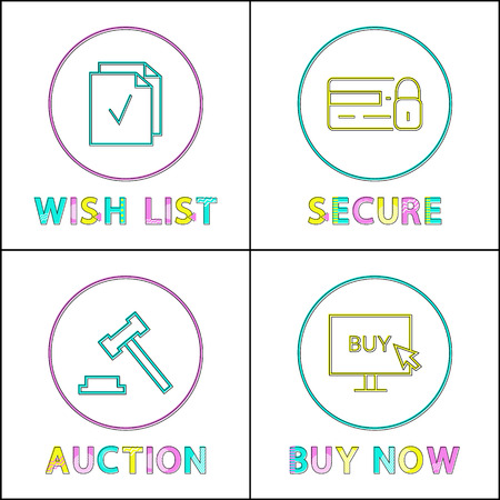 Online auction and security, wishlist and buying icons. Credit card and monitor, hammer and list sign in circles, website design vector illustration