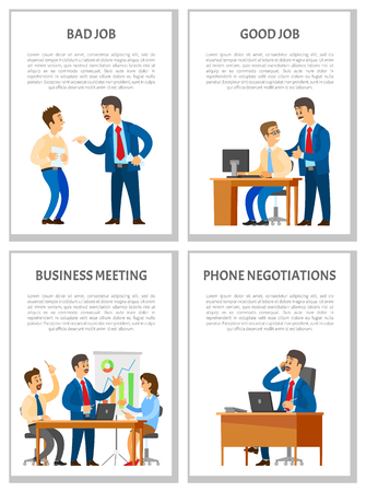 Bad and good job, business meeting and telephone negotiations vector posters. Unsatisfied boss, leader supporting worker, report of manager with graphs charts