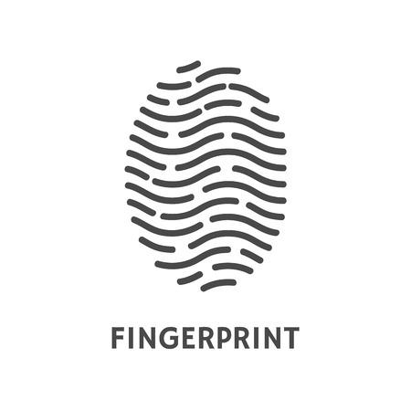 Vector de muestra de texto de cartel de verificación de huellas dactilares. Huella digital y huella digital, proceso de autorización de dactilograma. Reconocimiento de datos personales humanos Ilustración de vector