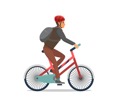 Bicycle man riding bike, biker wearing protective helmet vector. Speed of cycling, person having good time active healthy lifestyle. Hobby and sport Çizim