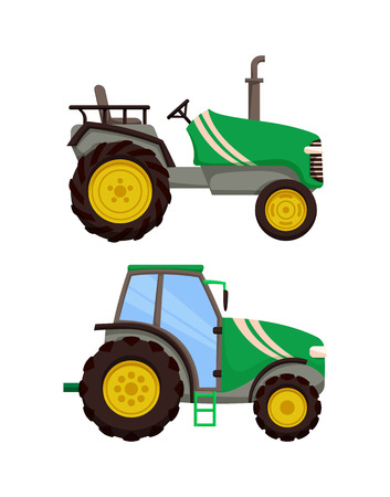 Tractor icons set machinery vector. Agronomy equipment transportation auto with cabin for driver, Agricultural machine, farming vehicles isolated