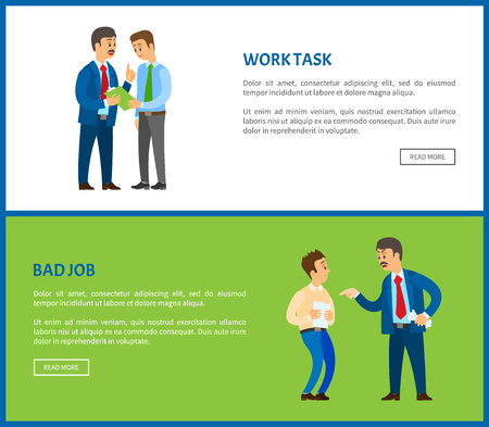 Bad job and work task vector poster, unsatisfied boss claiming frustrated worker with improperly done work. Leader businessman giving new project to clerk