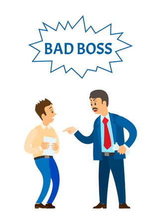 Bad boss chief executive angry with office worker, shouting at man vector. Reprimand of employer to employee, official rebuke to person with documentation Illustration