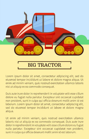Agricultural Machinery Icon, Cartoon Vector Banner Ilustracja