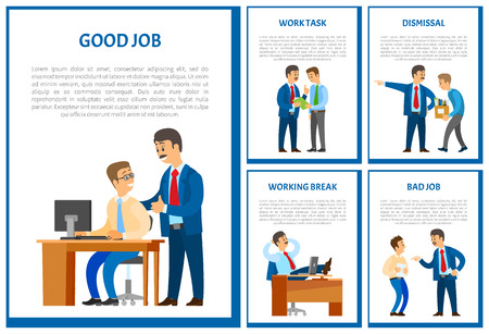 Good job of worker, boss praising employee poster vector. Dismissal of man working in office discharge of workmate by chief executive. Break of leader Illustration