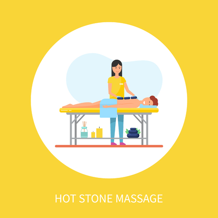 Hot stone massage asian technique with heat methods. Masseuse and male client relaxing on special table, isolated icon, treatment of patient vector Ilustração