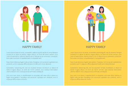 Happy family and children, close relatives walk together, cartoon style vector poster. Parents mother and father, son, daughter and dog pet isolated Illusztráció