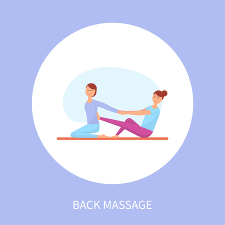 Medical back massage session on rug isolated cartoon vector in circle. Masseuse in sport uniform massaging spine of client with legs sitting on carpet Illustration