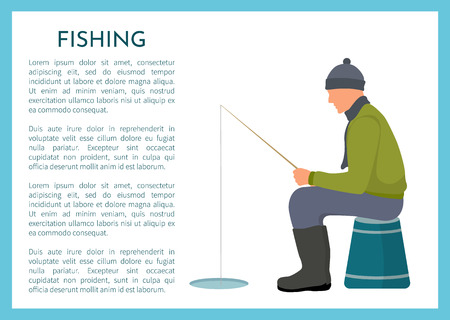 Fishing in winter poster. Vector fisherman in warm clothes and bobble hat sitting on turned bucket near ice hole with rod or tackle fishery gear. 向量圖像