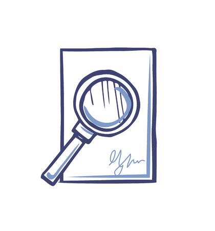 Magnifying Glass on Empty Sheet of Paper Signature