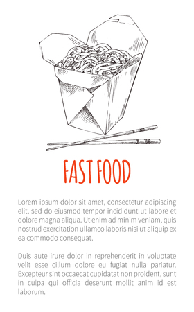 Fast food noodles poster with text sample and sketch of takeaway meal in paper package. Oriental dish served with chopsticks monochrome sketch vector