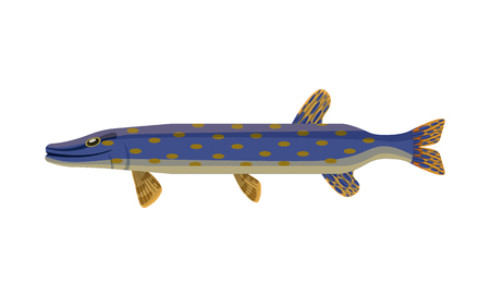 Brook trout long marine fish with spots on body. Creature with fins and gills. Blue limbless animals living in water isolated on vector illustration