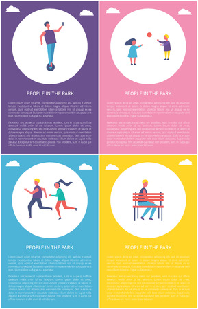 People in park poster two children playing with ball. Man riding, couple jogging together, lonely guy sitting on bench vector set of posters  イラスト・ベクター素材