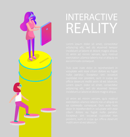 Interactive virtual reality cartoon vector banner. Girls in special digital glasses playing video games in front of screen and walking up the stairs